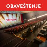 Privremeno zatvaranje Cineplexx Kragujevac Plaza bioskopa
