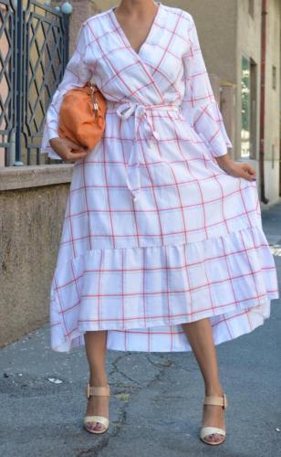 Duga karirana haljina od viskoze i poliestera odeca za mame i dame internet prodavnica